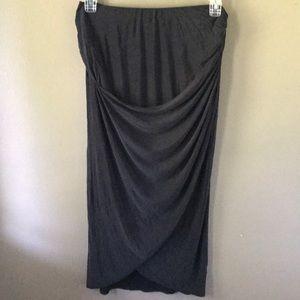 Long length black draped Skirt